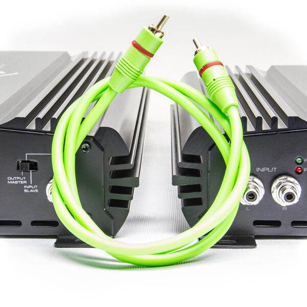 Three Foot Mono RCA Cable, shown between two SoundQubed Monoblock Amplifiers
