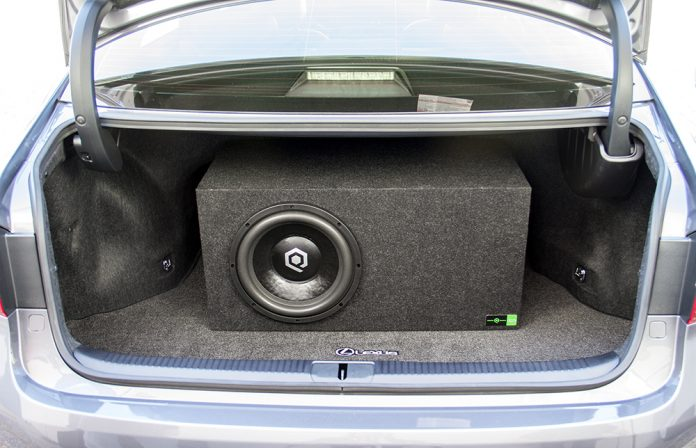 subwoofer enclosure in a truck of car