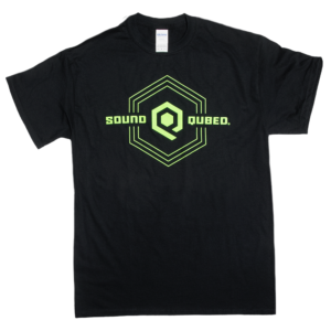 SoundQubed Black Logo T Shirt viewed from front.