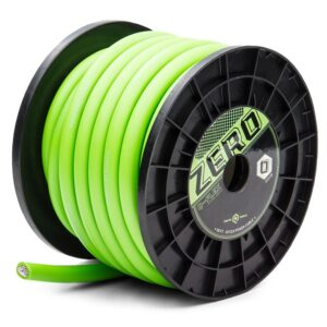 Q-Zero Power-Ground Wire, 50 foot spool in SoundQubed Green, Shown straight on, at an angle.