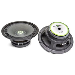 QP-MR-8 100 Watts RMS, 200 Watts Peak Power 8 Inch Component Speaker Pair shown from top and bottom.