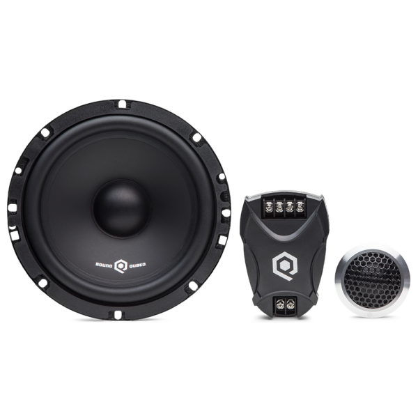 SoundQubed 75 Watt RMS, 300 Watt Peak Component Set with MidWoofer, Tweeter, and Crossover, viewed from front.