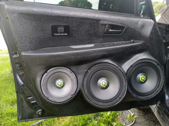 SoundQubed QP-MR6.5 and QP-MR8 installed in a custom door pod.