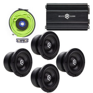 Bundle with four HDS206 Series Subwoofers, S1-1250 Monoblock Amplifier, and a 4 AWG Amp Wiring Kit